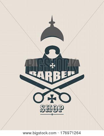 Barber shop vector vintage label, badge, or emblem on gray background. German infantryman