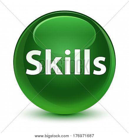Skills Glassy Soft Green Round Button