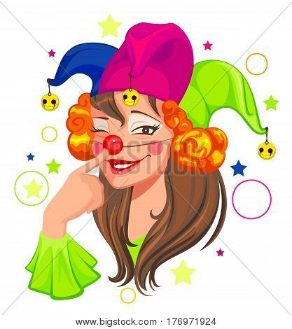 Fools Day woman clown. Isolated on white vector cartoon illustration