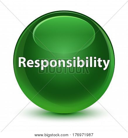 Responsibility Glassy Soft Green Round Button