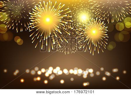 Abstract golden firework on city landscape background for celebration