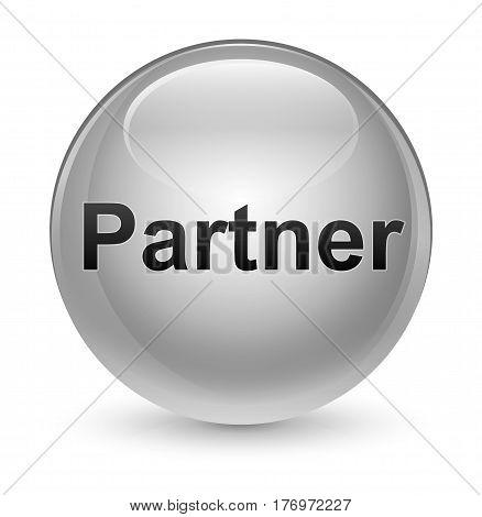 Partner Glassy White Round Button