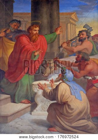 ROME, ITALY - SEPTEMBER 05: The fresco with the image of the life of St. Paul: Paul and Barnabas Taken for Gods, basilica of Saint Paul Outside the Walls, Rome, Italy on September 05, 2016.