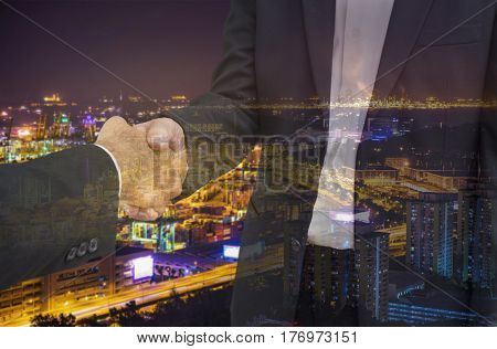 double exposure scene of businessman shakehand for commit industry cityscape - can use to display or montage on product