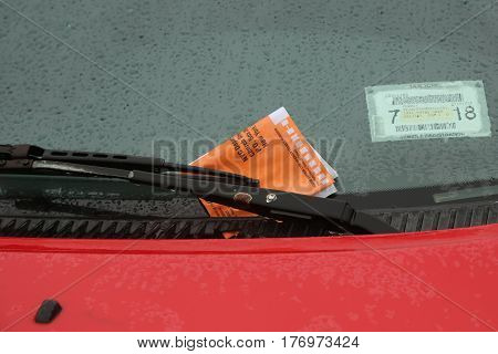 NEW YORK - MARCH 16, 2017: Illegal Parking Violation Citation On Car Windshield in New York
