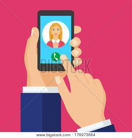 Incoming call on smartphone screen. Vector concept call to woman. and hold phone finger touch sign in button. Female avatar. Vector flat illustration.