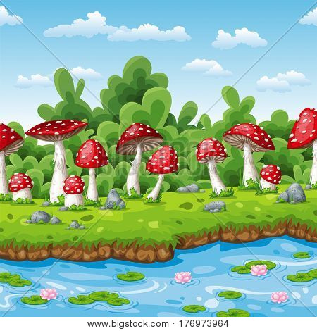 Landscape of some fly mushrooms and water