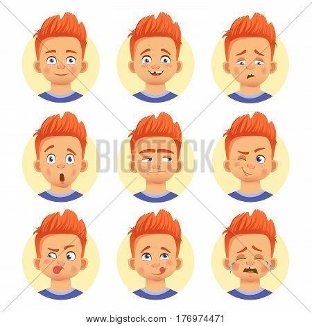 Set of human emotions. Facial expression. Set of emoticons. Flat vector illustration. Redhead boy