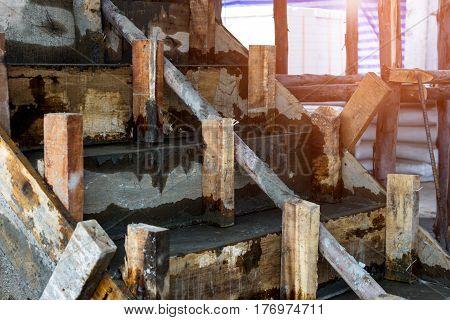 Building ladder concrete staircase under construction site