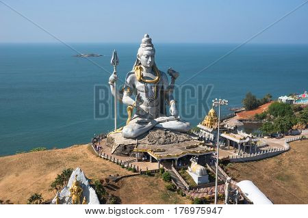 Statue of Lord Shiva in Murudeshwar Temple in Karnataka India