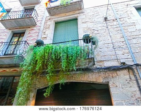 Old town of Pals in Girona, Catalonia at Spain. Balcony