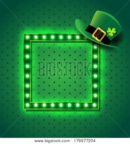 Green retro sign with St patrick hat for background