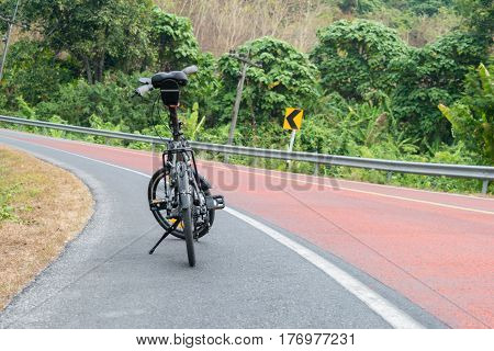 Folding bicycle of Parked on the street