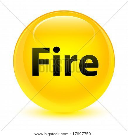 Fire Glassy Yellow Round Button