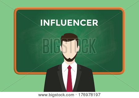 influencer white text illustration with a bearded man wearing black suit standing in front of green chalk board vector