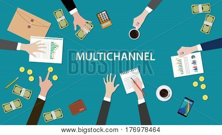 multichannel concept discuss in a meeting illustration with paperworks, folder document, money and coins on top of table vector