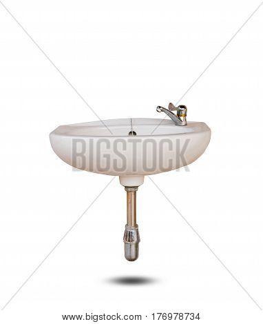 Close up washbasin isolated on white background