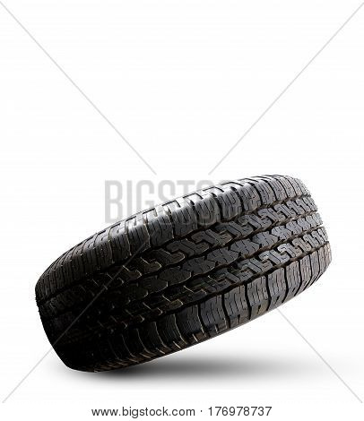 Close up tire isolated on a white background