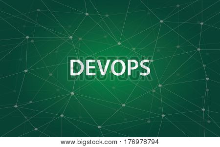devops white tetx illustration with green constellation map as background vector