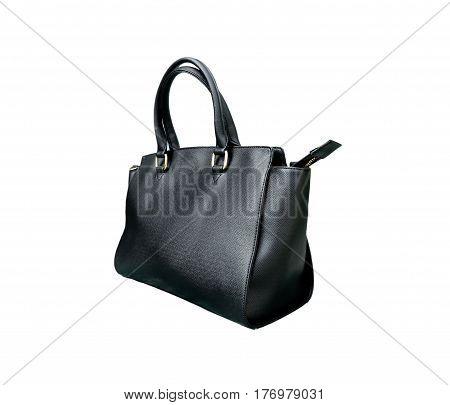 black leather black isolated on white background