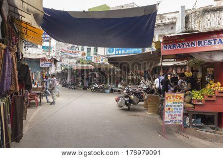 PUSHKAR INDIA-OCT 30 : marketplace view of main market road in Pushkar on october30 2014 india