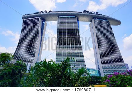 Singapore, Singapore - February 10, 2017: Singapore Marina Bay Sands skyscraper on sunny day in Singapore.