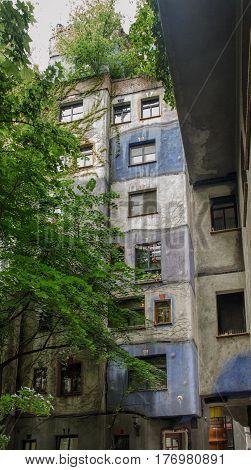Fragment Of Hundertwasser Haus In Vienna. Austria