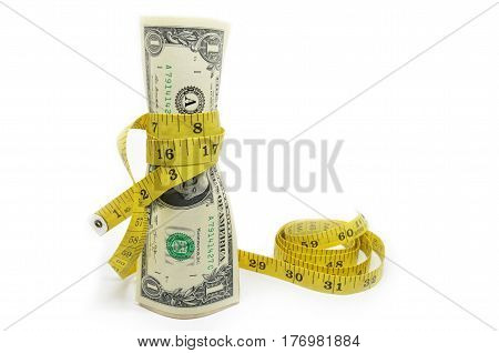 One Dollars Us Money In Measuring Tape