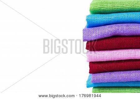 Texture of vintage color fabric material sample with white isolated background