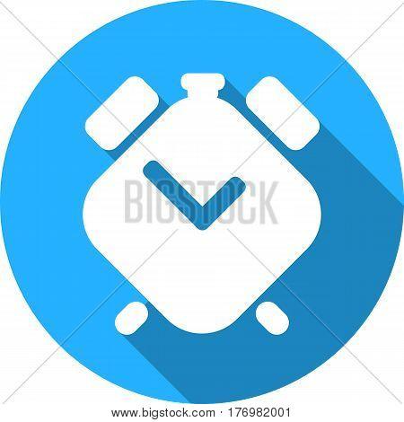 Clock is a flat geometric icon. Alarm clock round icon