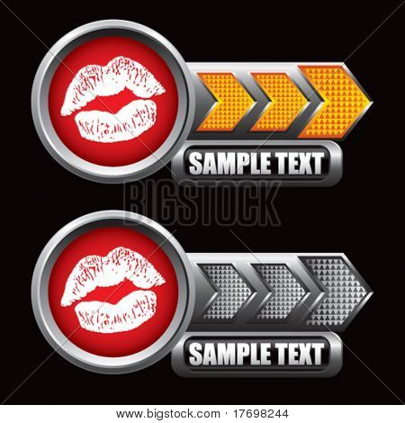 lips puckering on gold and silver arrow banners