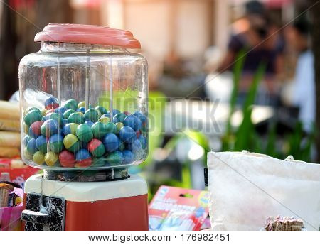 Gumball machine in the local market thailand.