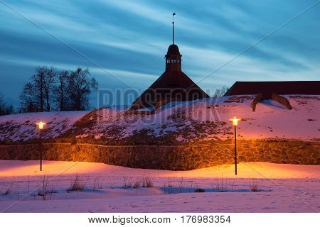 February evening at the bastion of on ancient Korela fortress. Priozersk, Russia