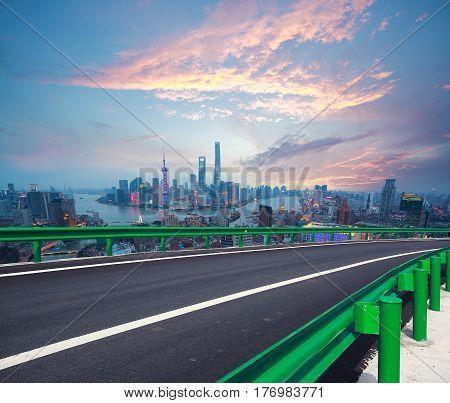 Empty Road Floor With Bird-eye View At Shanghai Bund Skyline