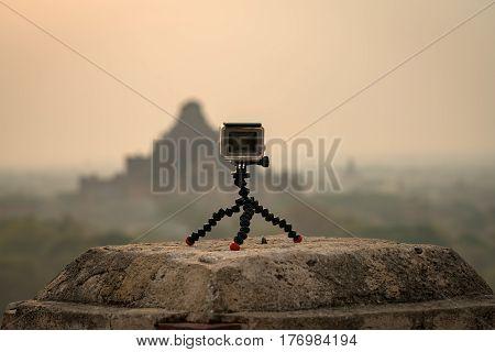 Action camera record timelapse view old bagan pagoda MandalayMyanmar