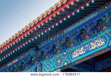 Beijing, China - Oct 30, 2016: Ornate roof design and patterns at the Forbidden City (Gu Gong, Palace Museum).