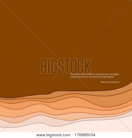 Abstract background, the form of waves with shadow. Smooth twist light lines abstract background. Wave abstract dynamic design with place for your message