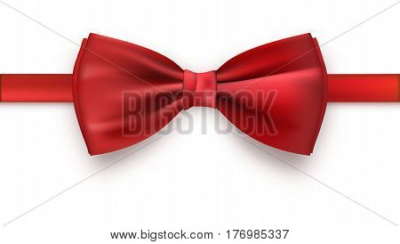 Realistic red bow tie, vector illustration, isolated on white background. Elegant silk neck bow.