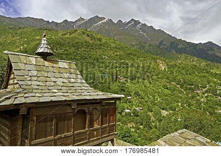 Ancient Hindu Temple in the High-Altitude Mountain Region, Kamru Village, Kinnaur Valley, Northern India