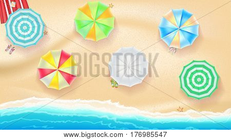 Set of colorful beach sun umbrellas flip-flops and beach Mat on the background of sand near sea surf with beach flip flops and starfish, top view icons. Vector illustration for your poster or covers