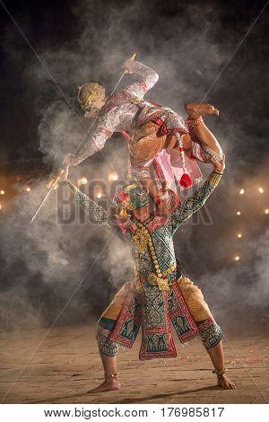 Khon thai performing art of ramayana story dancing the best of Thailand Hanuman and thos sa kon