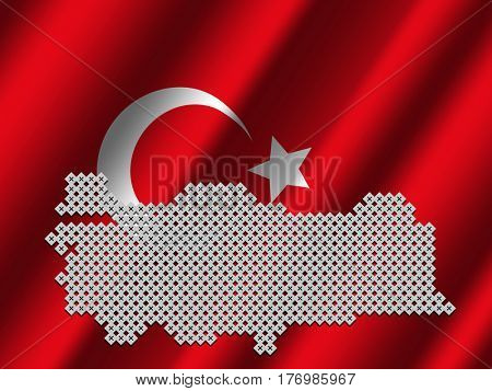 Turkey map of votes on rippled Turkish flag illustration