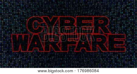 Cyber warfare text on hex code 3d illustration