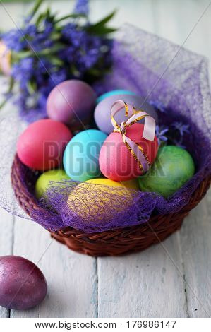 Basket with Easter eggs and spring blue flowers. Top view