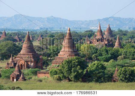 Solar landscape of ancient Bagan. Burma (Myanmar)