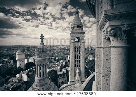View from top of Sacre Coeur Cathedral in Paris, France.