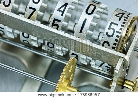 Scoreboard Mechanism Closeup. Counter Rolls With Different Numbers.