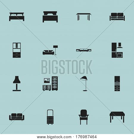 Set Of 16 Editable Furniture Icons. Includes Symbols Such As Wall Mirror, Bed, Stool And More. Can Be Used For Web, Mobile, UI And Infographic Design.