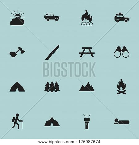 Set Of 16 Editable Camping Icons. Includes Symbols Such As Voyage Car, Ax, Tepee And More. Can Be Used For Web, Mobile, UI And Infographic Design.