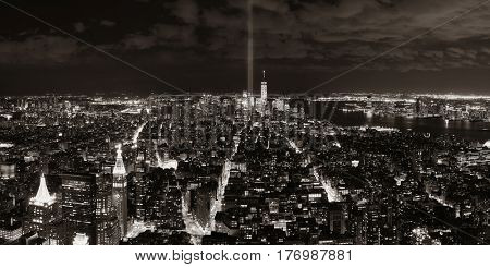 New York City downtown skyline panorama night view with September 11 tribute light..